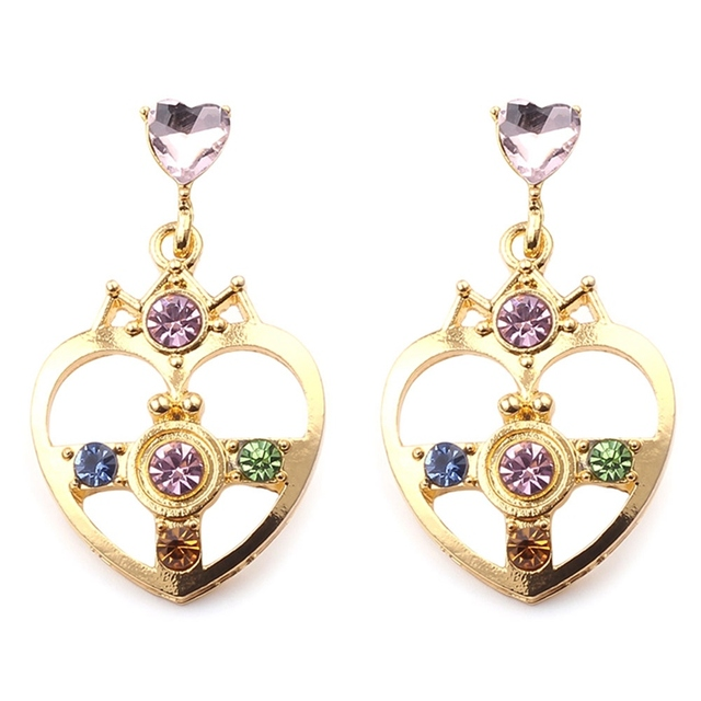 Gold Color with Blue Green Crystal Heart Shap Sailor Moon Stud Earrings  Sailor Moon Earrings For Cosplay Kids Girls