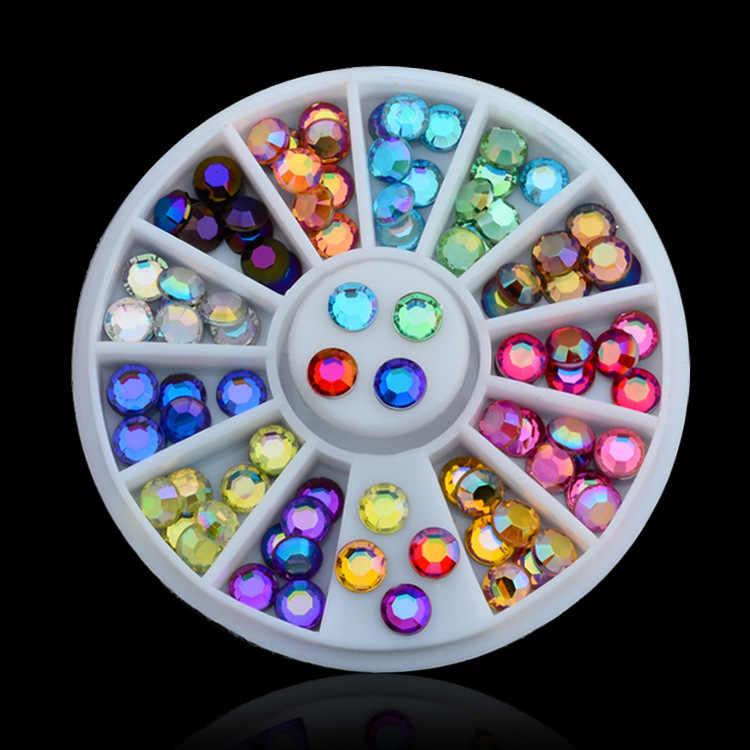 Delikatny Ornament okrągłe ultracienkich cekiny kolorowy lakier do paznokci Art Glitter porady żel UV 3D do paznokci dekoracja do manicure akcesoria 2018 nowy