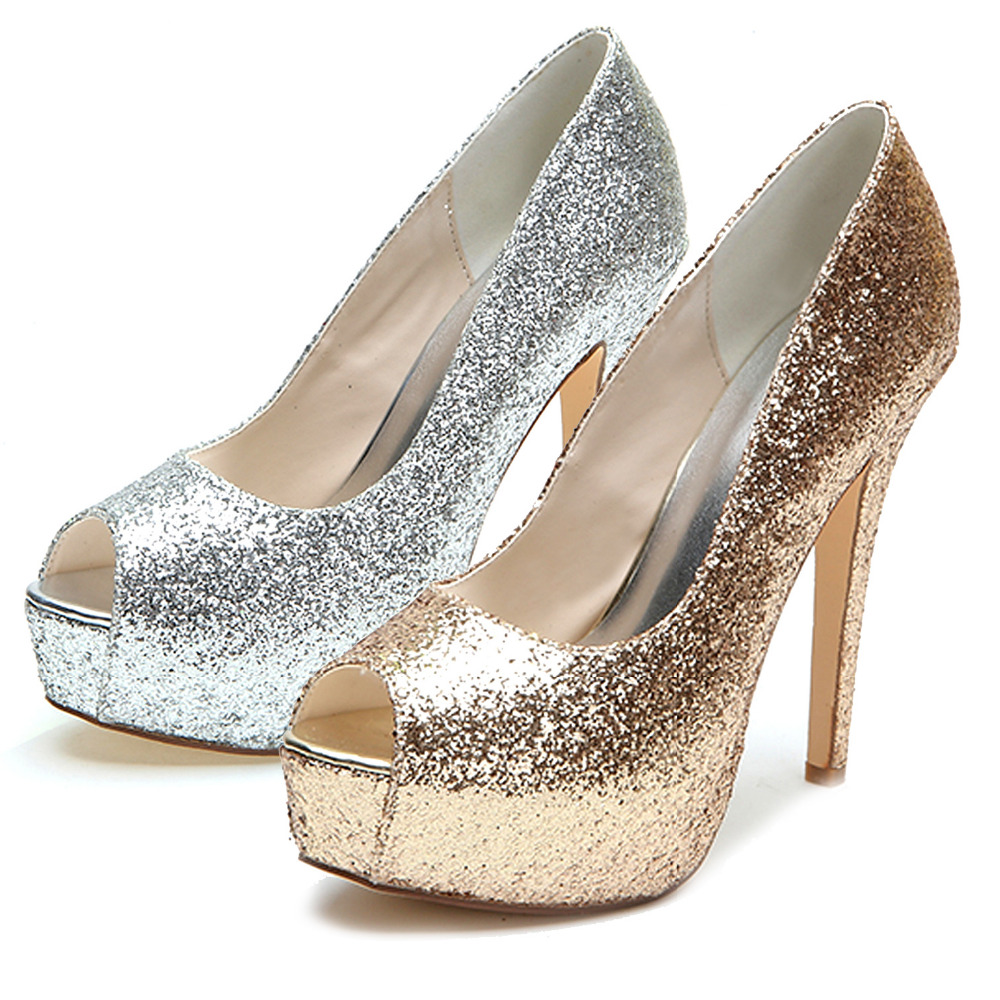 31d28595498 Creativesugar ladies high heel platform pumps open toe gold silver glitter  metallic pumps wedding bridal heels night club shoes