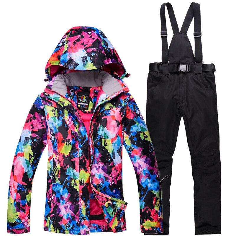 Shining Women's Ski Suit Female Snowboarding Sets Waterproof Windproof Winter Ourdoor Sports Costumes Snow Jacket + Bib Ski Pant