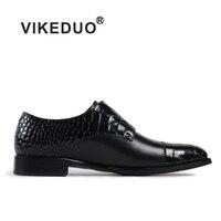 Vikeduo/2019 обувь ручной работы из крокодиловой кожи для мужчин обувь из натуральной кожи под платье Свадебная вечеринка Классический черный Ор