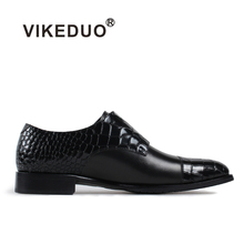 Vikeduo 2019 Handmade Crocodile shoe Men Genuine Leather Shoe Dress Wedding Party Classic Black Original Design Mens Monk Shoes