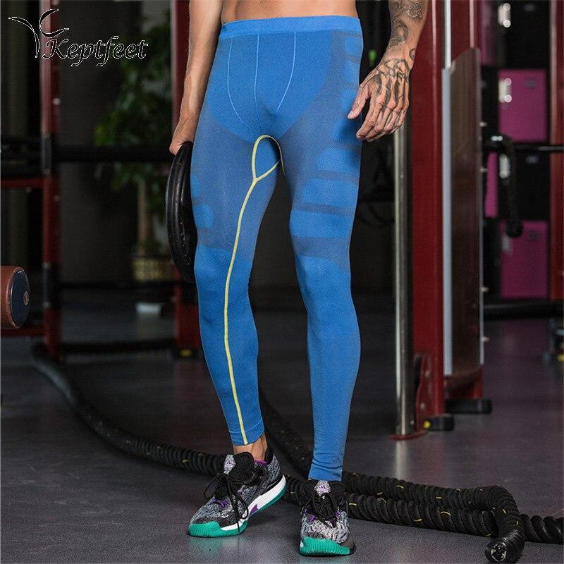 Men Sport Tights Blue Black Gym Compression Running Pants Fitness Yoga Basketball Training Breathable Running Tights Leggings