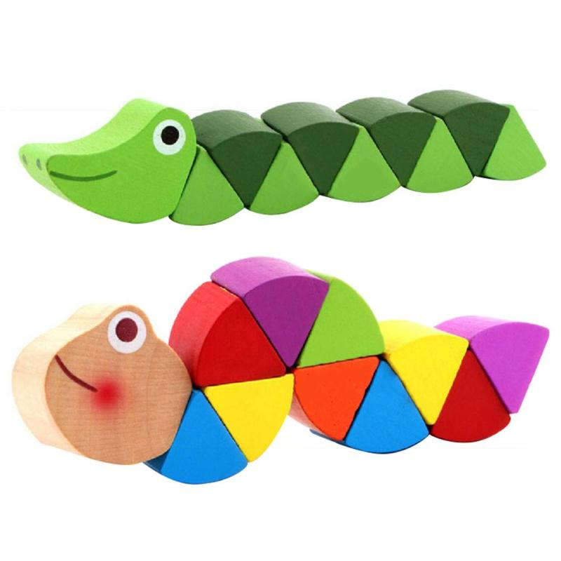 Wooden Worm Puzzles Kids Learning Educational Toy Finger Game Colorful Gift