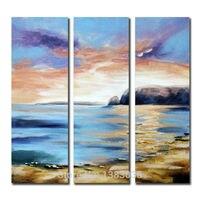 Hand Painted Tóm Tắt Cảnh Biển Đại Dương Shore Bãi Biển Tranh Sơn Dầu 3 Panels Modern Canvas Wall Art Set Trang Trí Nội Thất Ảnh