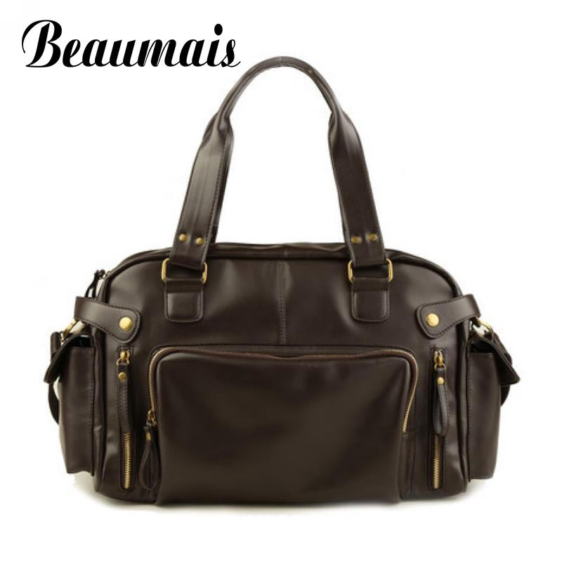 Beaumais 2017 Hot Sale Vintage Men's Travel Bags Rivet Casual Men Messenger Bags Quality Pu Leather Brand Men Handbags BG036 цена и фото