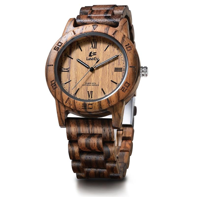 LeeEv EV2075 Mens Wood Watch for Men HandCrafted Zebra Sandal Wood Vintage Wooden Watches Mens Gifts