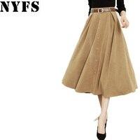 NYFS High Waist 2017 Autumn Winter Women Skirts Temperament Long Skirt Chamois Office Skirt Faldas Mujer