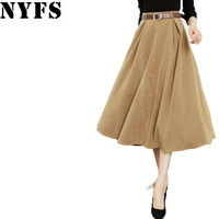 NYFS High Waist 2017 Autumn Winter Women Skirts Temperament Long Skirt Chamois Office Skirt Faldas Mujer