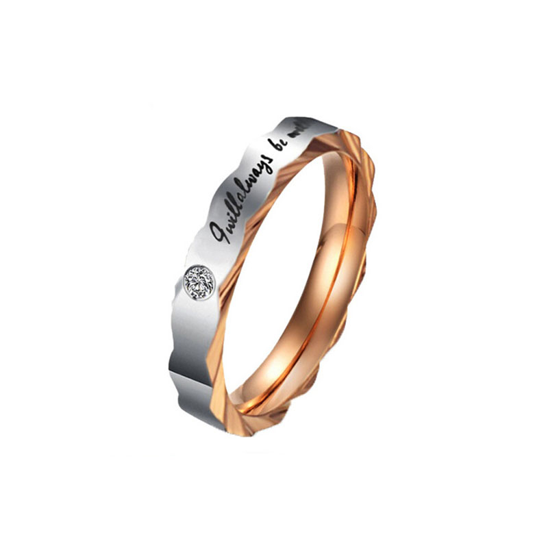 MISANANRYNE Titanium Steel Lettering Black Rose-gold Color Rings For Lovers Couple Ring Best Present For Anniversary titanium ring