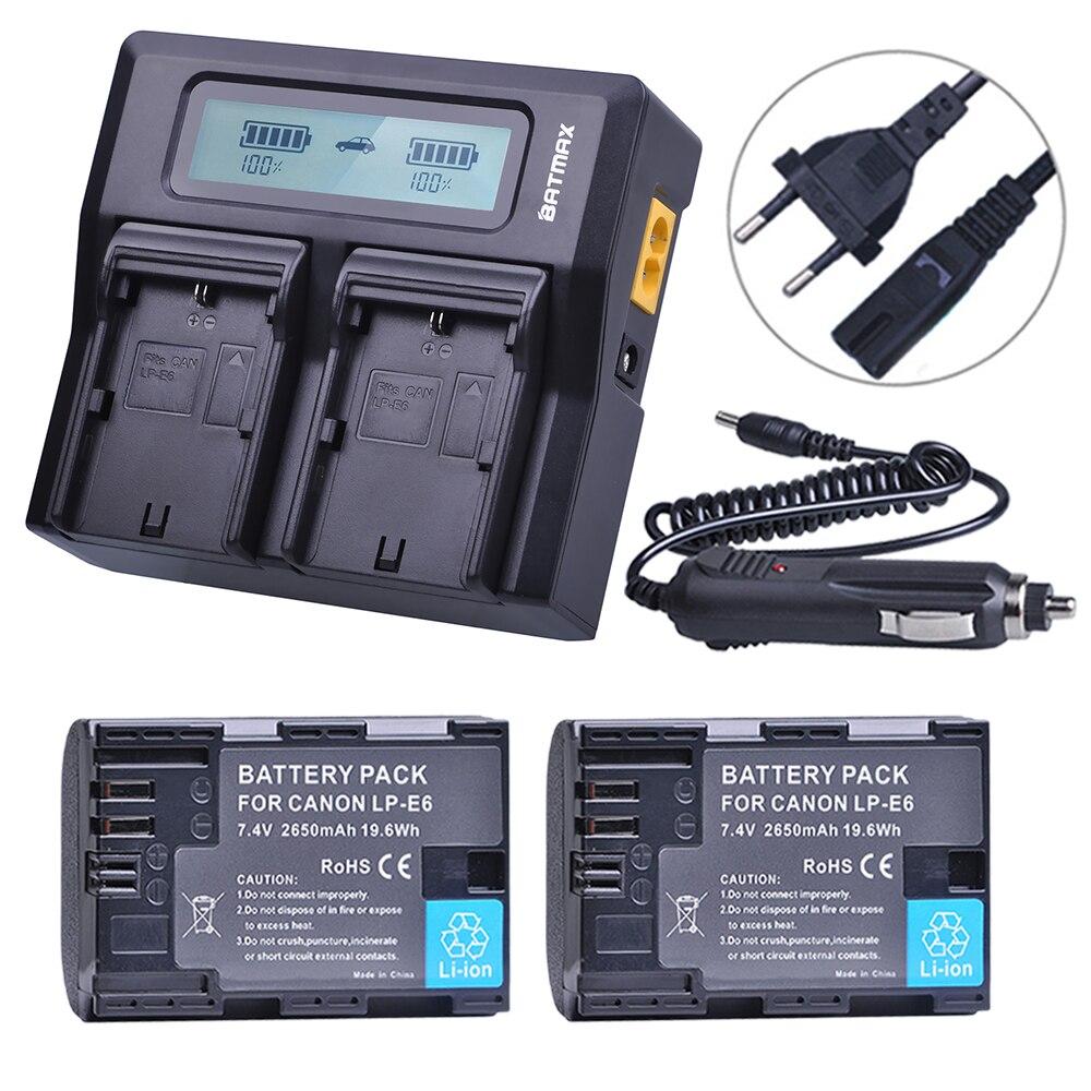 2 unids 7,4 V 2650 mAh LP-E6 LPE6 LP E6 batería + LCD rápido cargador Dual para Canon 5D Mark II/III/6D 7D 60D 60Da 70D DSLR EOS 5DS