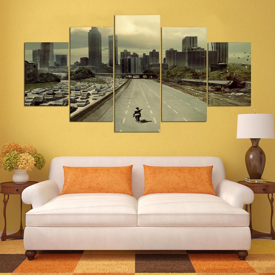 Special Offer Top Fashion 5 Panel Modern Atlanta Street Hd Art Print ...