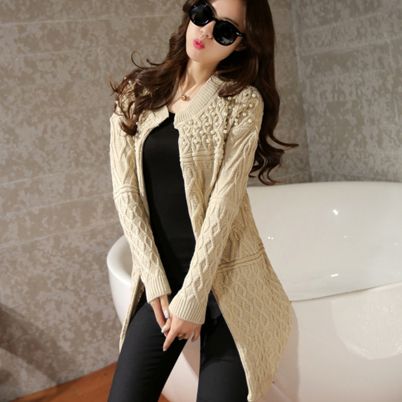 Hot Sale Autumn Winter Brand Design Beading O neck Long Knitted ...