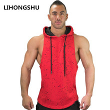2019 summer new Brand Clothing Bodybuilding Fitness Men Gyms Hooded Tank Top Vest Stringer Sportswear Sleeveless Shirt Hoodie