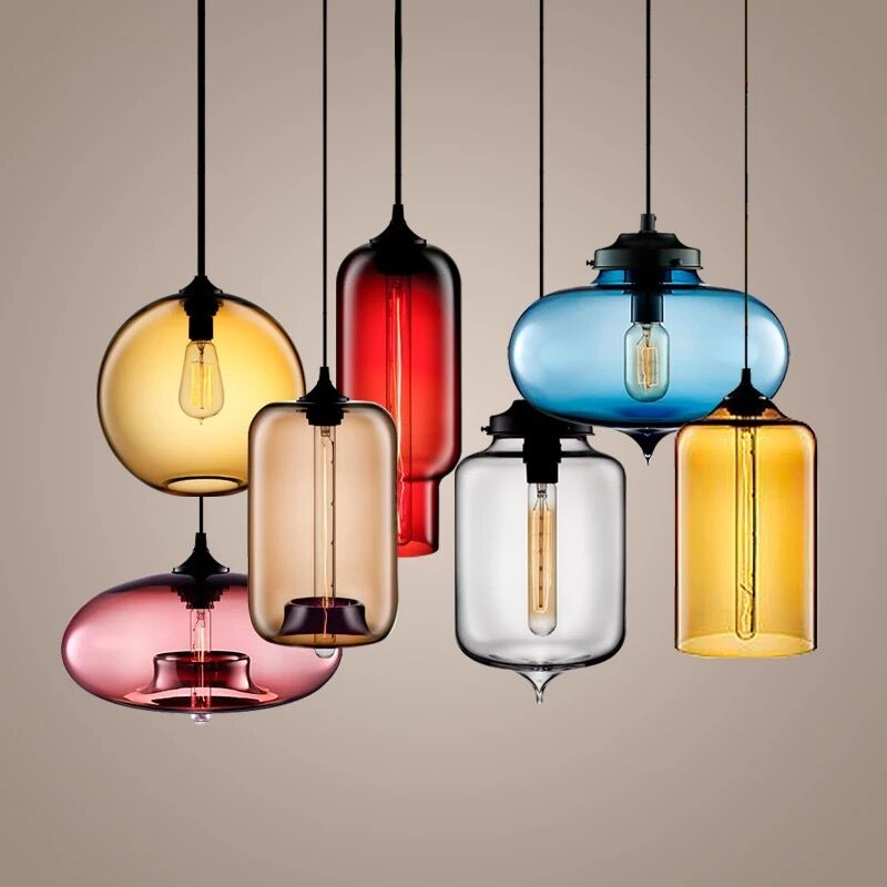 ФОТО Vintage Retro Creative Loft Handmade Colorful Crystal Glass Led E27 Pendant Light For Dining Room Bar Restaurant 80-265v 2061