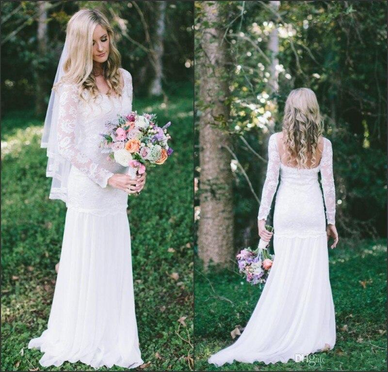 Magnifique Élégant Dentelle Robe De Mariée À Manches Longues Scoop  Décolleté Dos Nu Robes De Mariée de la boutique en ligne