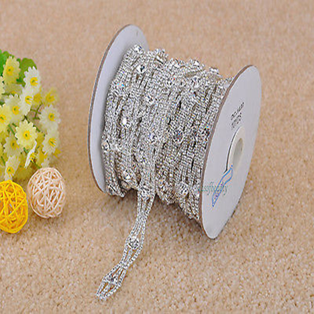 cfe403b9cb Aliexpress.com : Buy 1 Yard Clear Rhinestone Crystal Silver Applique Chain  Bridal Dress Costume Trim R2017Y from Reliable costume trim suppliers on ...