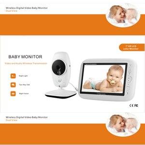 Image 2 - 7 אינץ בייבי מוניטור אלחוטי 720P HD מסך מצלמה ראיית לילה אינטרקום שיר ערש נני תינוק וידאו צג תומך מסך מתג