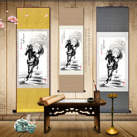 150CM TOP foreign business gift Home office WALL Decorative painting Success horse courser FENG SHUI ART chinese silk painting