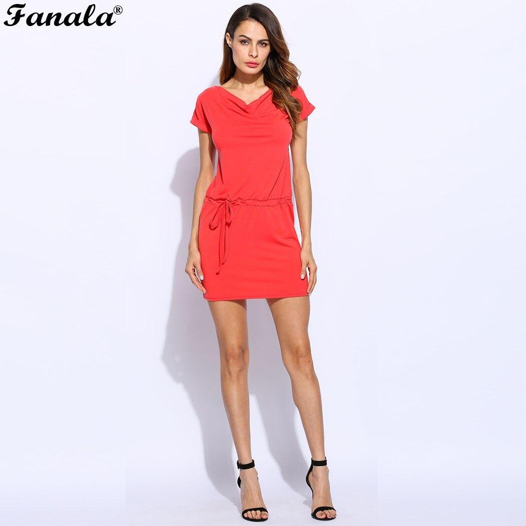 FANALA женское платье Лето V шеи Повседневное платья короткий рукав свободные пляжное платье мини вечерние Femme Vestidos 2018 новая однотонная m22