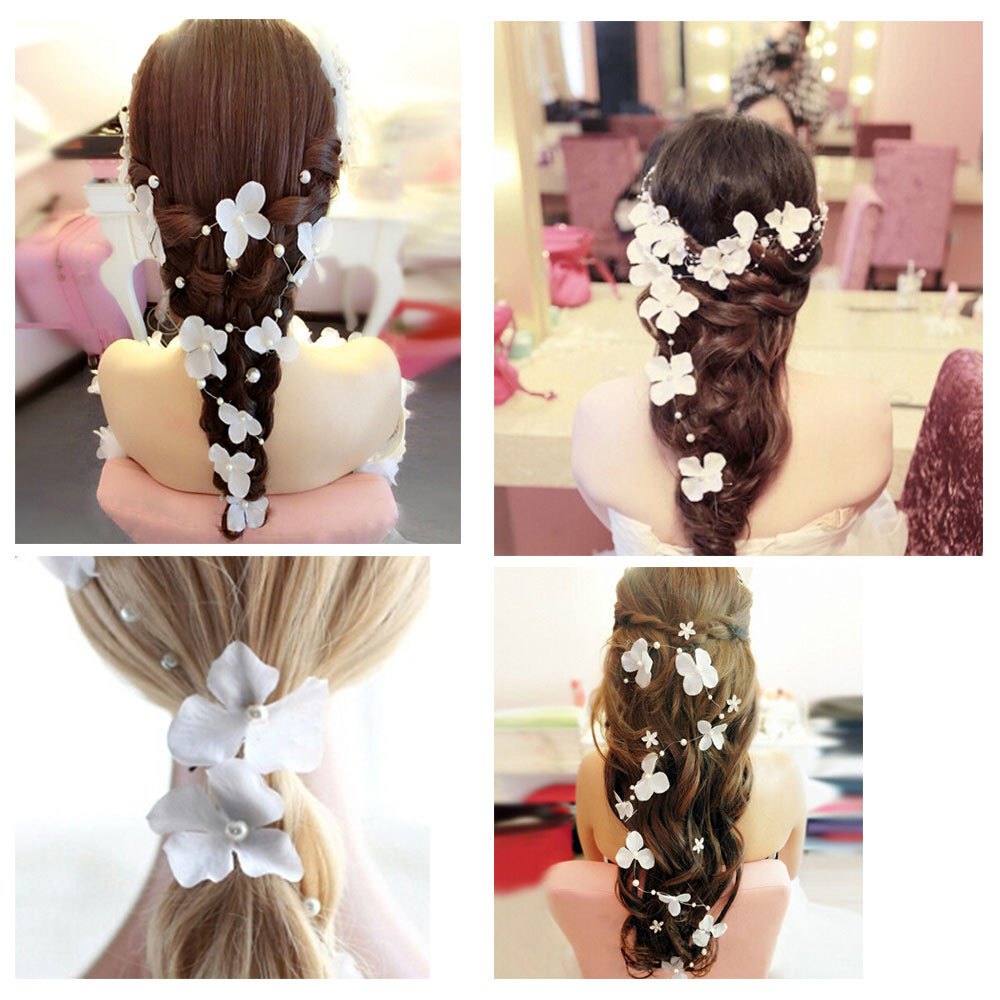 Women Wedding Flower Wreath headband bridal coroa de flores girls flower crown Flaxen hair flower head Wedding Hair Accessories