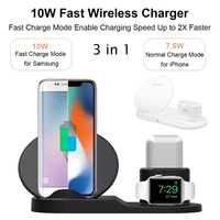 3 IN 1 Qi Wireless Charger 10 for Apple Watch 1 2 3 Airpods Iphone X XS for Samsung S9 S10 Note 9 Fast Charging Dock Phone Stand