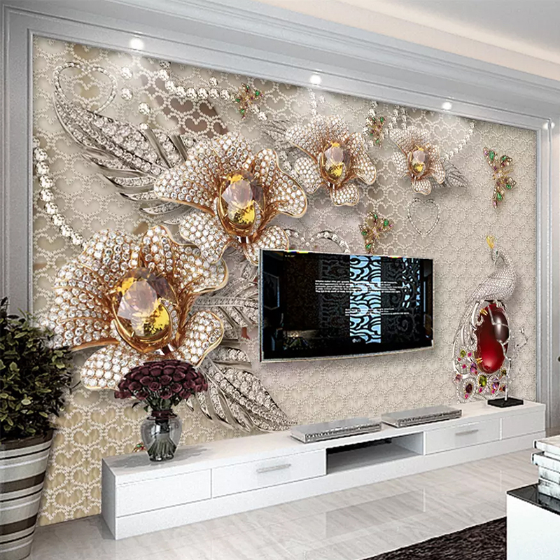 European Style 3D Stereo Jewelry Flower Photo Murals Wallpaper Living Room TV Sofa Background Wall Painting Papel De Parede 3 D