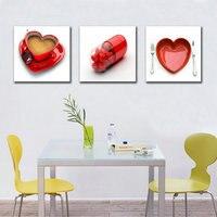 3 Panel Druck Rotes Herz Tasse Kaffee Gemälde dekorative bilder Auf Leinwand Küche Decor Cuadros Mauerbilder Für Wohnzimmer