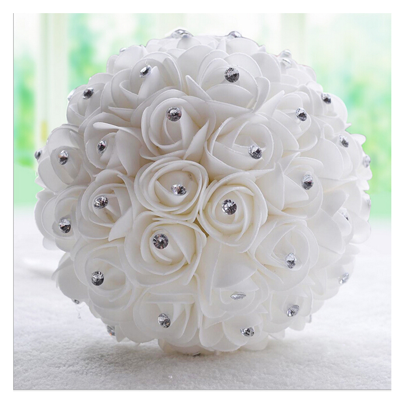 Dresstells Beautiful White Ivory Bridal Bridesmaid Flower Wedding Bouquet Artificial Rose Crystal Bouquets In From