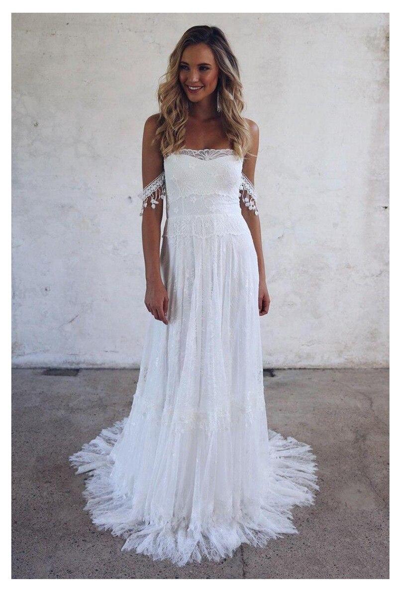 Beach Wedding Dress 2019 Lace Strapless Sexy Bride Dress Backless Vestido De Novia Bride Wedding Gowns