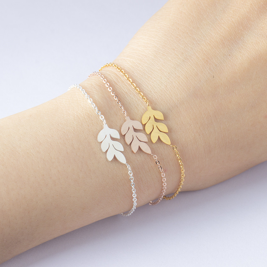 Dainty Laurel Leaf Bracelets For Women Bff Gifts Snap Button Jewelry Rose Gold Color Stainless Steel Minimal Bracelet Femme 2018