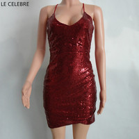 LE CELEBRE Halter Neck Sequins Party Dress 2017 Strapless Sexy Dress New Mini Women Dress Red