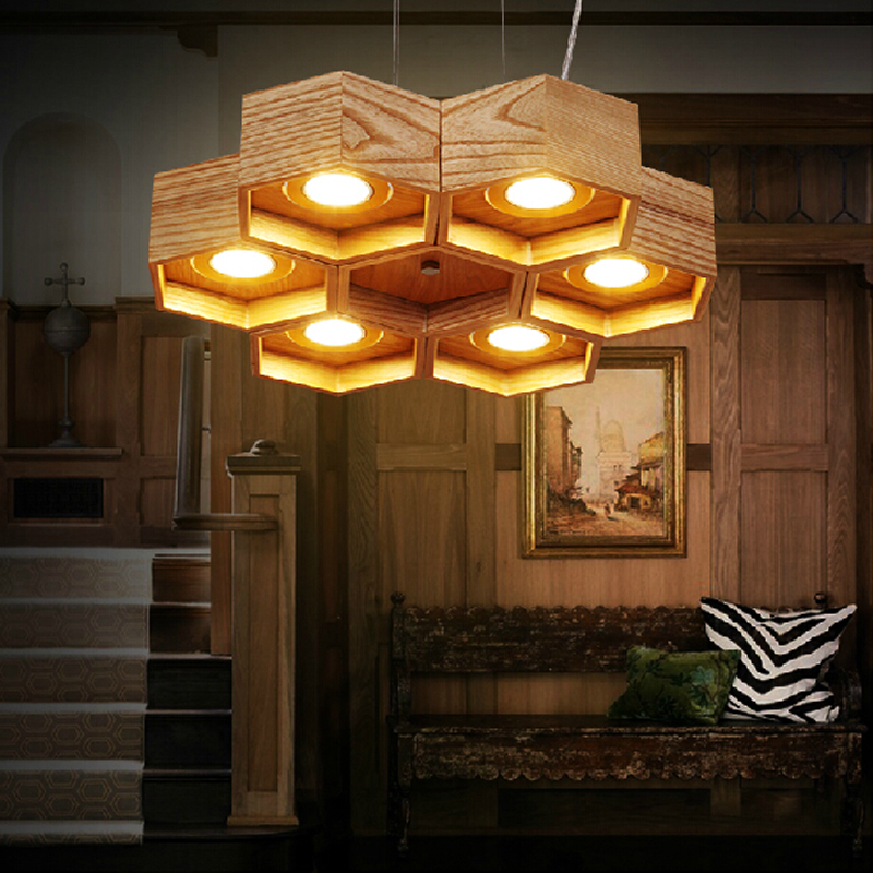 OaK Wood Honeycomb home decoration lamp Modern Creative Handmade Wood LED Hanging Pendant Lamp Lighting Light fixture hot sale 3d bird and flower printed round neck short sleeve t shirt for men