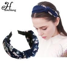 Haimeikang широкой резинкой для волос сладкий печати полосы Узел обруч для волос повязка для Для женщин Обувь для девочек Женские аксессуары для волос головной убор