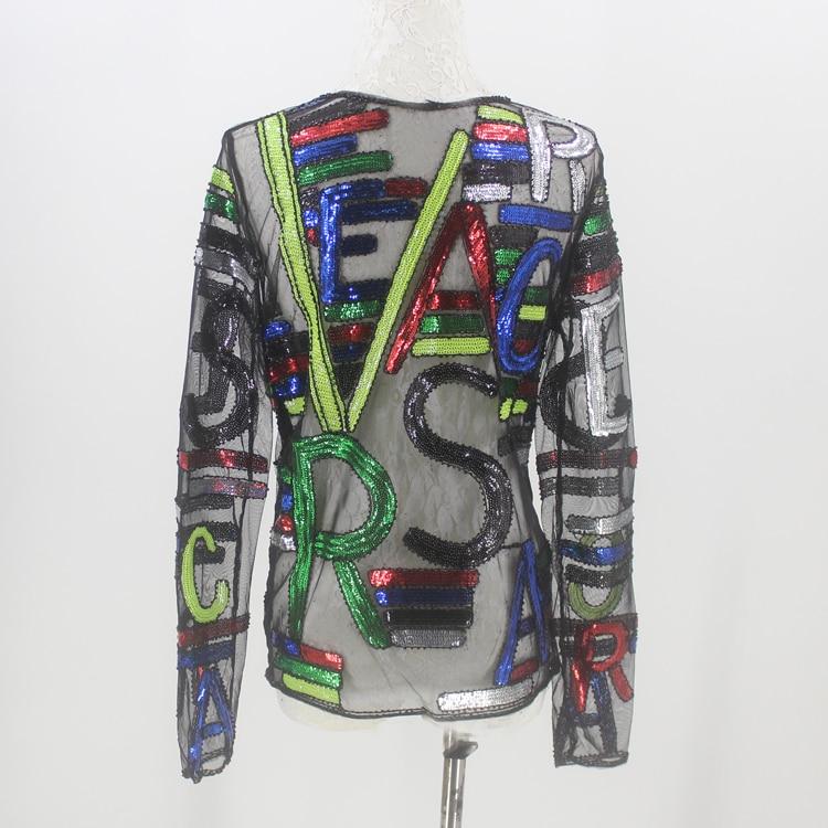 c33e1ddd3e08 2018 Fashion Wear Runway Disco Wielokolorowe Cekiny Bluzka Top Kobiety Lato  Perspektywa Koszula List Haftowane Bluzy Mesh w 2018 Fashion Wear Runway  Disco ...
