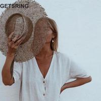 GETSRING Women Hat Women Sunhat Beach Hat Hollow Out Vintage Fashion Weaving Straw Hats Summer 2019 New Fashion Sexy Leisure