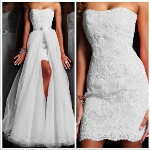 Beaded Wedding Dress With Detachable Train: Short Wedding Dresses With Detachable Train Lace Sequins