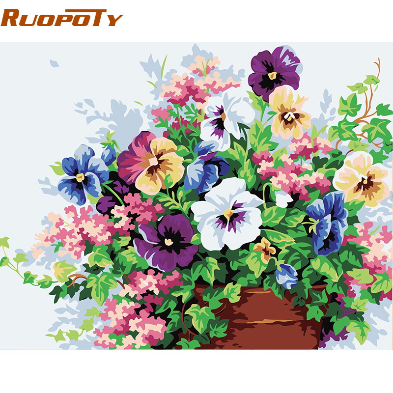 RUOPOTY farfalla fiore fai da te pittura con i numeri immagine wall art tela pittura home decor regalo unico per camera opera 40x50