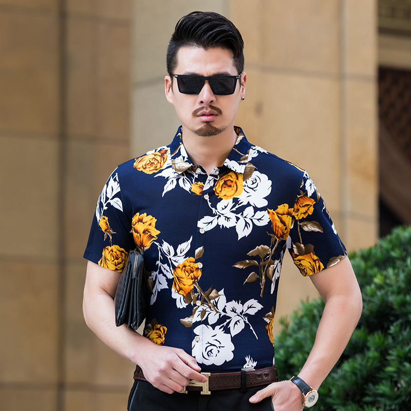 da938cd7bb3 Hot sale new arrival 2018 mens summer fashion floral printed clothes male  casual short sleeve flowers printing dress shirts-in Casual Shirts from  Men s ...
