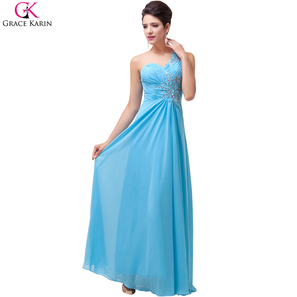 Grace Karin Blue Long Bridesmaid Dress One Shoulder Sequin Cheap ...