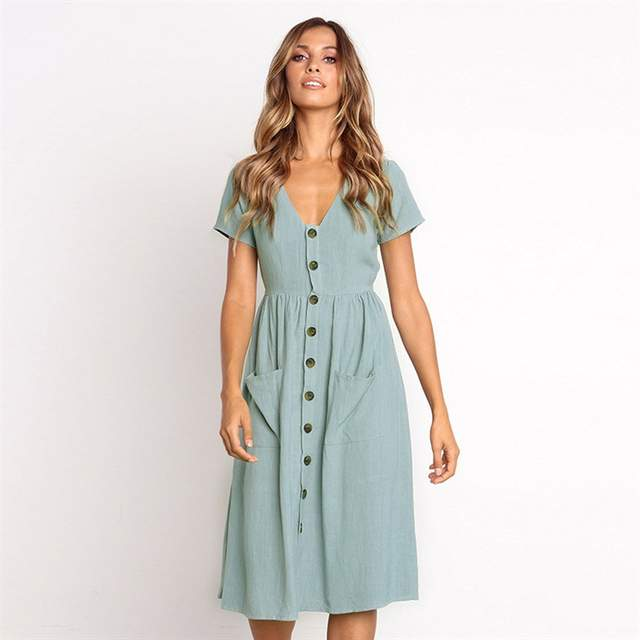 1699d601fb7 Online Shop LisVintion Summer Dress Women s Fashion Summer Short Sleeve V  Neck Button Down Swing Midi Dress with Pockets Beach Summer Dress
