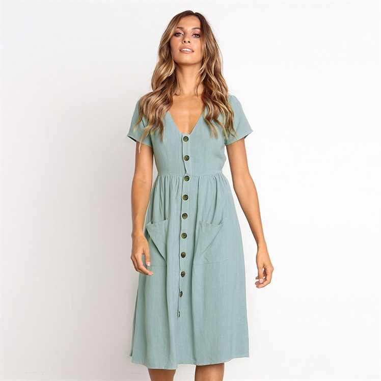 9d84a7827e90d LisVintion Summer Dress Women's Fashion Summer Short Sleeve V Neck Button  Down Swing Midi Dress with Pockets Beach Summer Dress