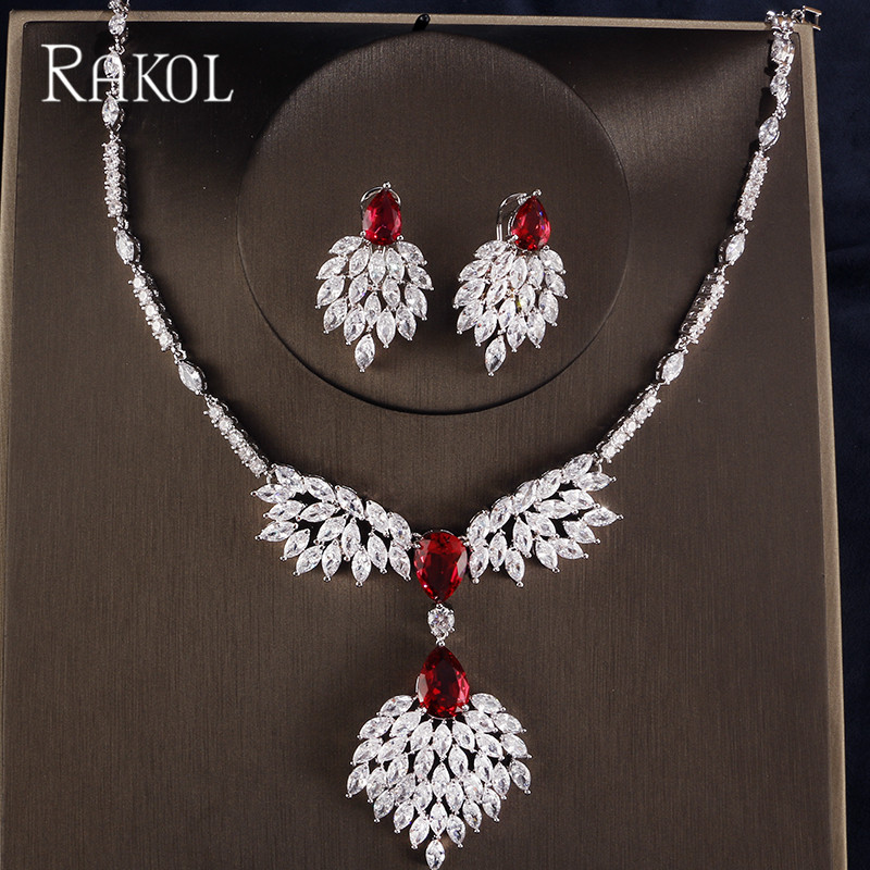 RAKOL High Quality Blue Zirconia Rhinestone Fashion Jewellery Wedding Jewelry Sets Long Crystal Drop Bridal Necklace