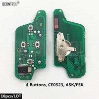 QCONTROL Car Remote Key Electronic Circuit Board for Peugeot 207 307 308 407 807 Expert Partner CC SW (CE0523 ASK/FSK)