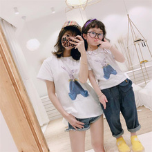 Cute Rabbit Printed Tees Summer T-shirts Family Matching Clothes Father Mother Girls Boys Kids Adult Gifts Mommy Dad White Tops