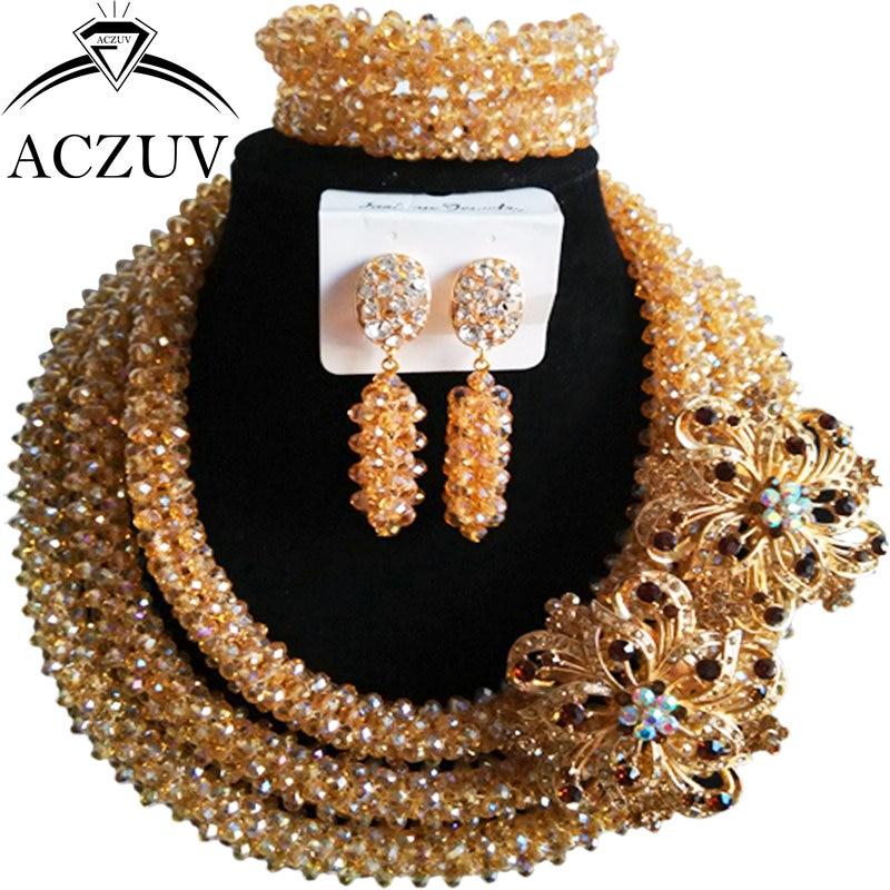 ACZUV Latest Gold AB Nigerian Wedding African Beads Jewelry Set Crystal B3R020ACZUV Latest Gold AB Nigerian Wedding African Beads Jewelry Set Crystal B3R020