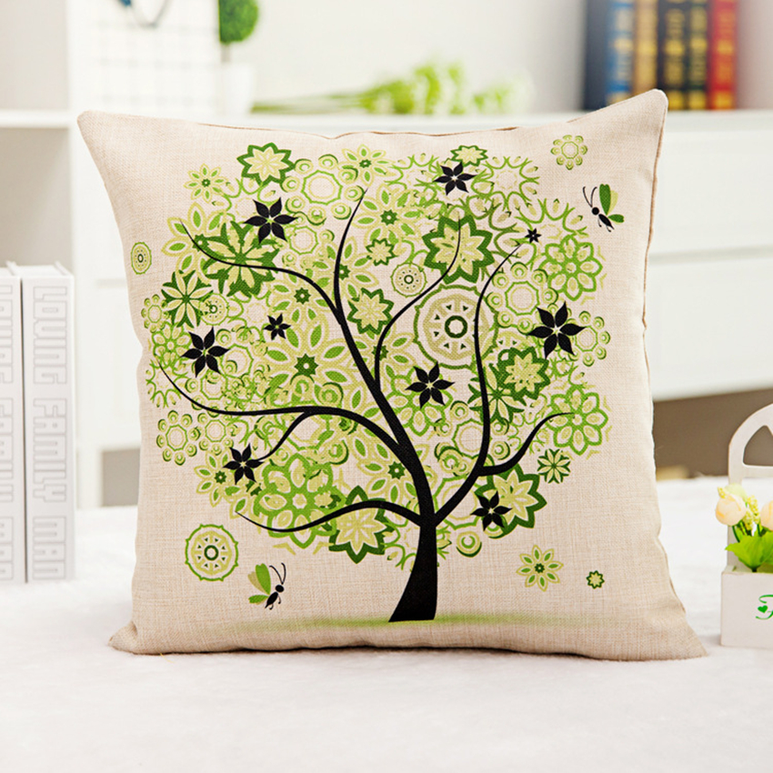 Hot Sale Printed Life Tree Cushion Synthesis Linen Home Decorative Pillow Car-styling Seat Back Cushions Pillowcases 45x45 Cm