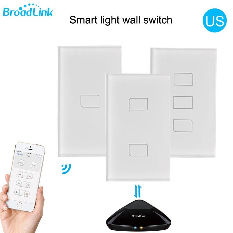 2018 Broadlink TC2 US/AU version 1 2 3 Gang WiFi Home Automation Smart Remote Control Led Light Switche Touch Panel via RM Pro+