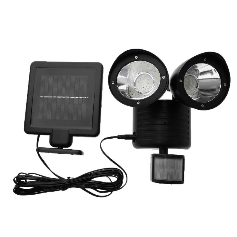 PIR Motion Sensor Light Waterproof 22 LED Solar Powered Light Double Dural Heads Security Wall Lamp for Outdoor Garden