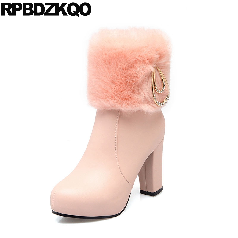 Big Size Pink Metal Sexy Platform 41 Rhinestone Shoes Winter Lolita High Heel Fur Women Ankle Boots 2016 Round Toe 10 Booties custom metal platform round toe sexy women ankle boots 2016 booties shoes red chunky high heel suede autumn ladies fashion